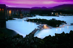 Blue Lagoon Spa at night