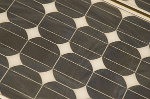 Close up of photovoltaic cells in solar panel