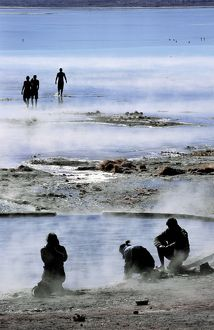 Tourists bathing in hot springs, Bolivia